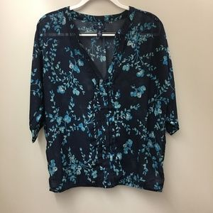 GAP Blue Sheer Floral V-Veck Blouse L